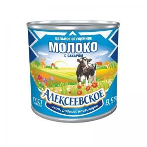 «Алексеевское» цельное сгущенное молоко с сахаром 380г.