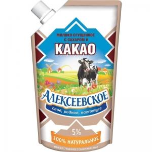 «Ալեքսեևսկոյե» խտացրած անարատ կաթ շաքարով և կակաոյով 270գ.