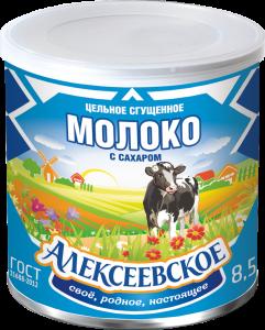 «Алексеевское» цельное сгущенное молоко с сахаром 360г.