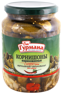 Pickled gherkins with hot chili 720 ml