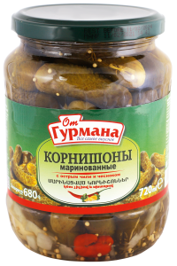 Pickled gherkins with hot chili and garlic 720 ml