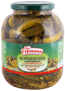Pickled gherkins with hot chili and garlic 1415 ml
